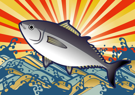 Illustration of the sun and waves and tuna Illustration