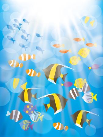 水中の美しい熱帯魚