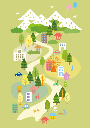 Illustrations of fun town