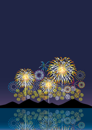 Night view and fireworks Vector