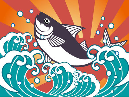 Good catch flag of tuna Illustration