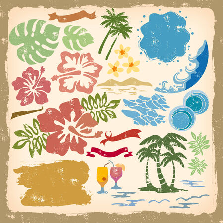 hibiscus background: Illustration of the image of water and wave