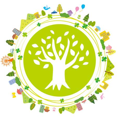 Illustration of Earth refreshing eco