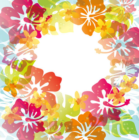 hawaii flower: Illustration of the image of water and wave