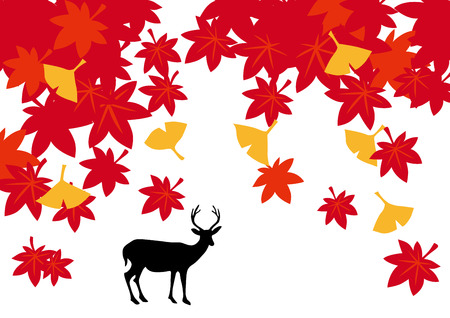 asia deer: Beautiful autumn colors of Japan Illustration