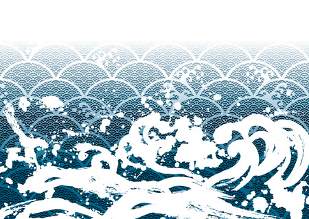 japanese painting: The wave of a Japanese painting