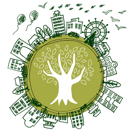 nature silhouette: Illustration of Earth refreshing eco