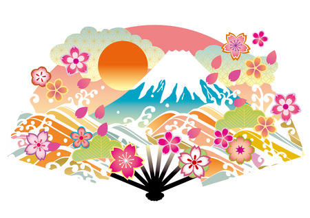 japanese new year: It is Mt. Fuji of illustrations of Japan