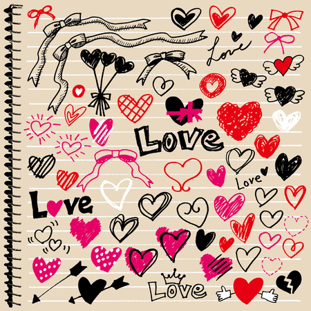 Heart of illustrations wrote by hand