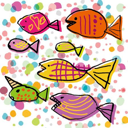 カラフルな魚の私たち  イラスト・ベクター素材