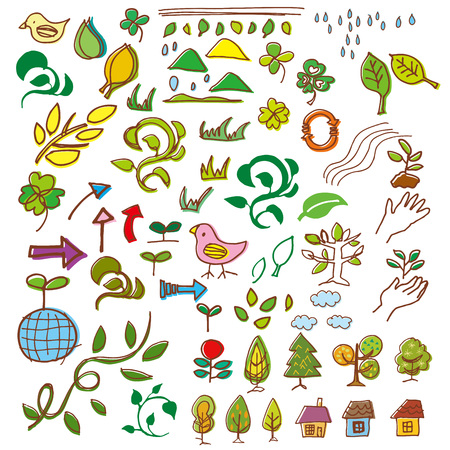 young leaf: Green and Eco handwritten illustrations
