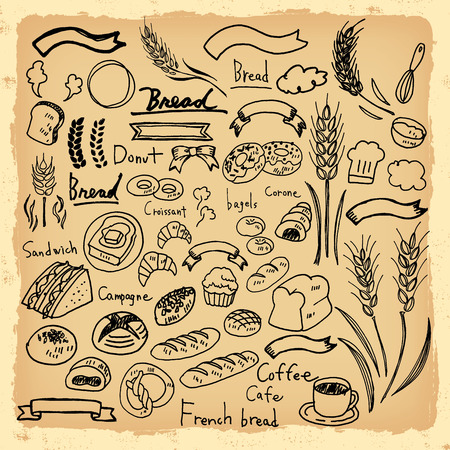 french bakery: Illustrations of handwriting of bread Illustration