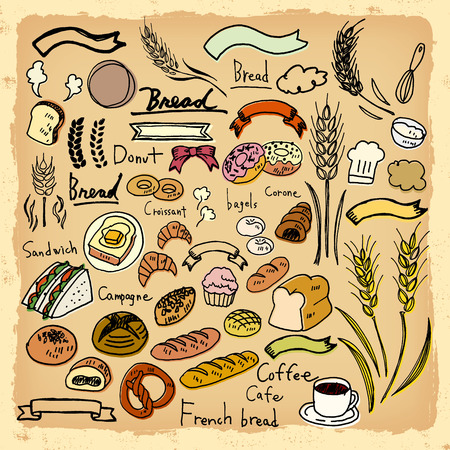 handwriting: Illustrations of handwriting of bread Illustration