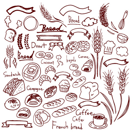 Illustrations of handwriting of bread Illustration