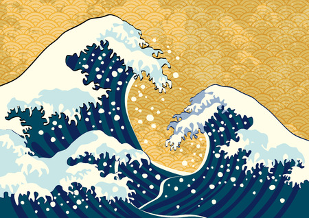 The wave of a Japanese painting
