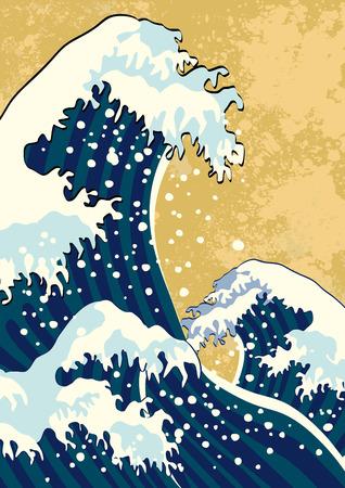 La vague d'une peinture japonaise Banque d'images - 39091203