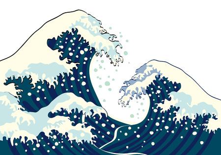 water wave: De golf van een Japanse schilderkunst
