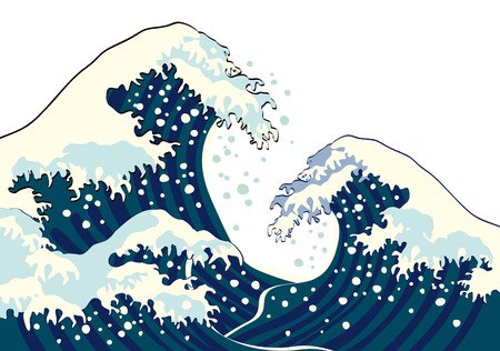 blue abstract wave: The wave of a Japanese painting