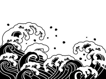 La vague d'une peinture japonaise Banque d'images - 39338782