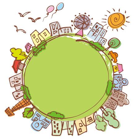 Beautiful green of Cityscape Illusztráció