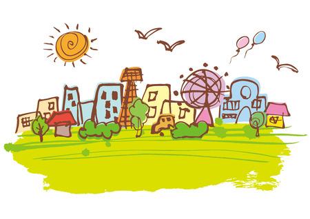 Beautiful green of Cityscape Illustration