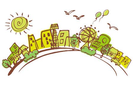 Beautiful green of Cityscape Ilustração