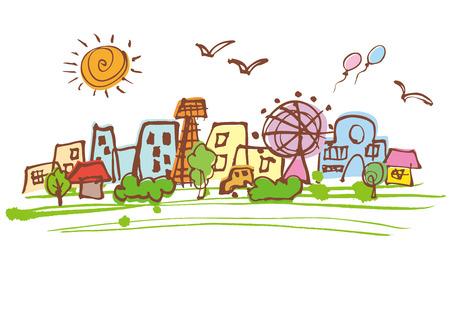environmentally: Beautiful green of Cityscape Illustration