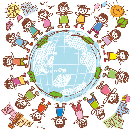 inclusion: Children of peaceful Earth Illustration