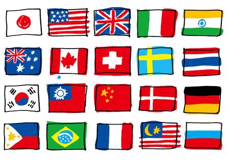 banderas del mundo: La bandera nacional que escribí a mano Vectores