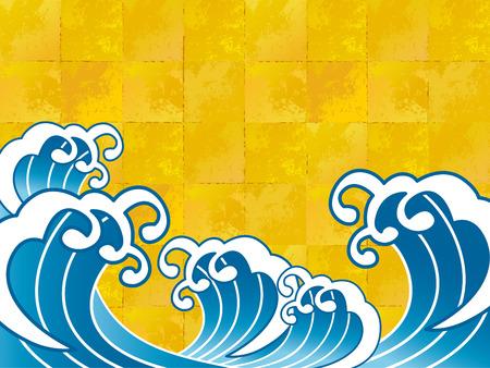 fondos azules: La ola de una pintura japonesa