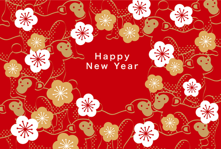 japanese pattern: Japans New Years card 2016