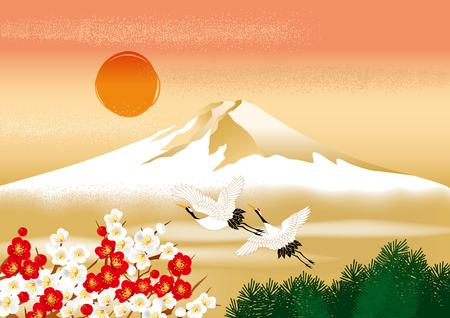 日本の富士の美しいイラスト
