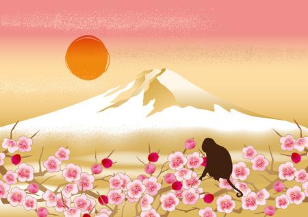 mountain landscape: Fuji beautiful illustrations of Japan