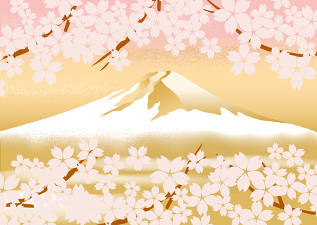 japan: Fuji beautiful illustrations of Japan