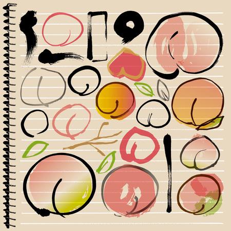 peach: Hand-painted peach illustrations Illustration