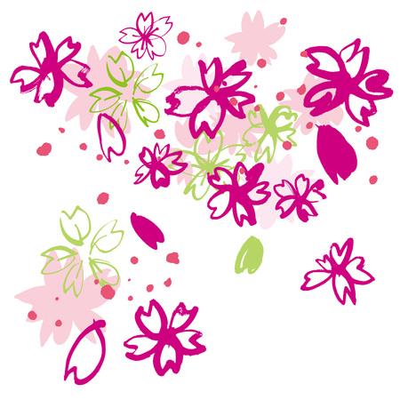 silhouette fleur: Belles fleurs de cerisier du Japon