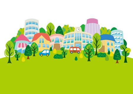 green street: Fun town illustration Illustration