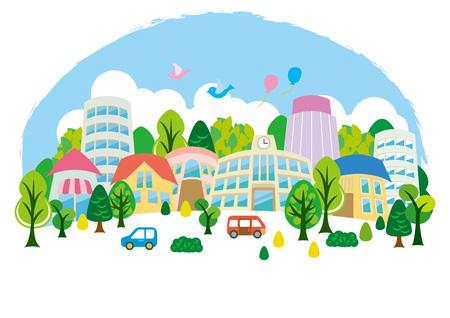 Fun town illustration Illustration