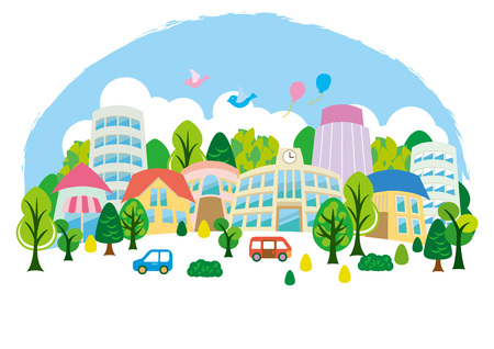 Fun town illustration Stock Illustratie