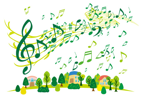 notes music: Green the city and the note of illustrations