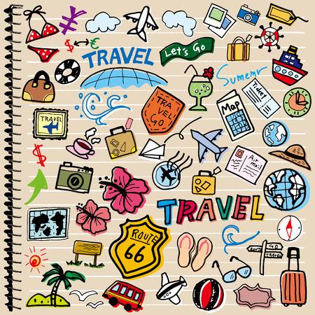 valigia: illustrazione di divertimento di viaggio Vettoriali