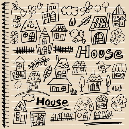 windows home: Handwritten house illustrations