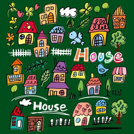 residential neighborhood: Handwritten house illustrations