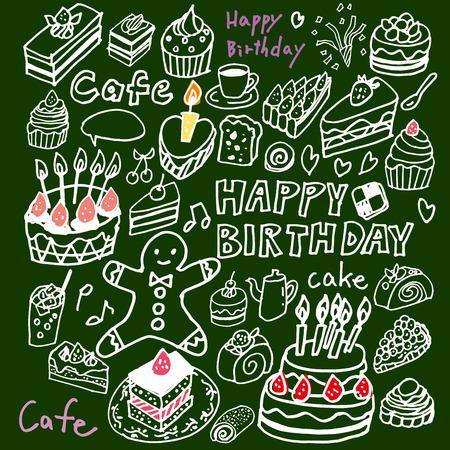 ケーキのイラストのかわいい手書きの  イラスト・ベクター素材
