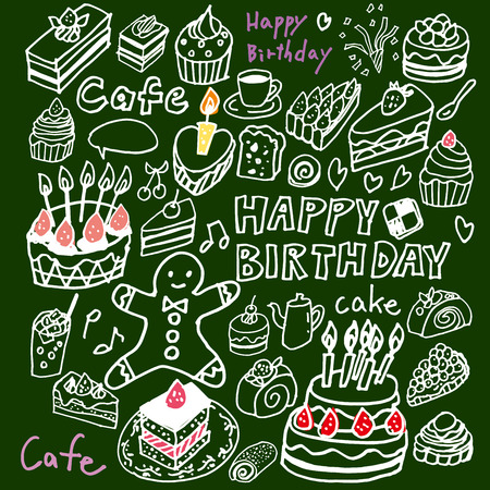 Of cute handwriting of cake illustrations