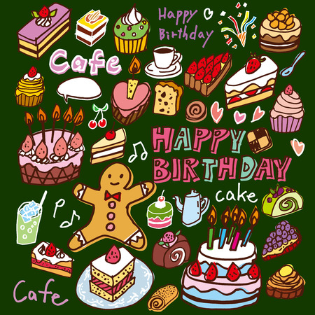 food illustration: Of cute handwriting of cake illustrations