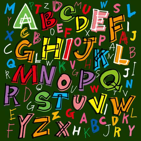 letras negras: alfabeto alegre