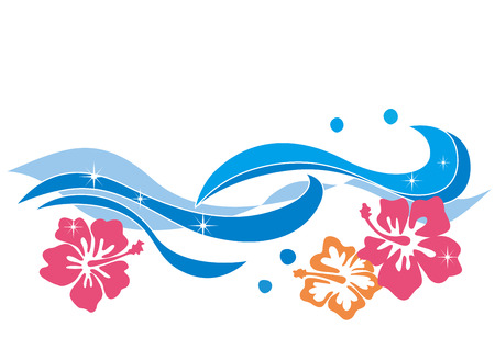 Waves and hibiscus illustrations
