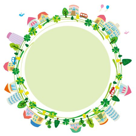 recycling symbols: Ecology city of illustrations