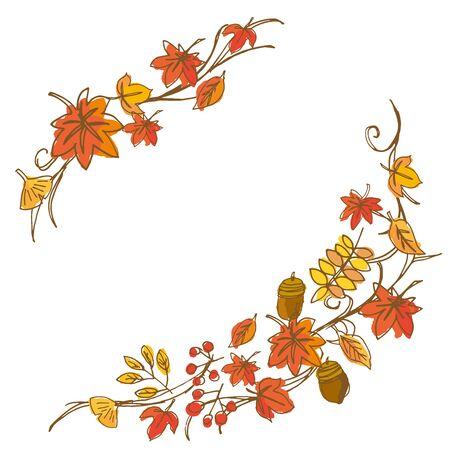 orange trees: Illustration of autumn leaves Illustration
